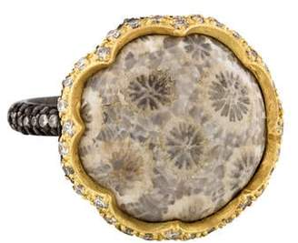 Armenta Old World Fossilized Coral & Diamond Cocktail Ring