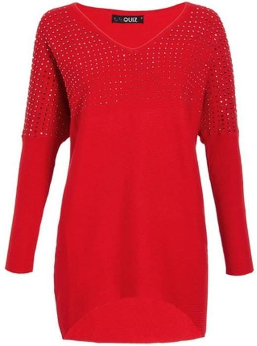 Womens *Red Diamante V-Neck Jumper