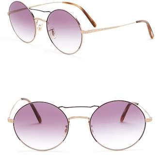 Oliver Peoples Nickol 53mm Round Aviator Sunglasses