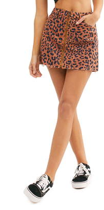 Free People Zip It Up Print Miniskirt