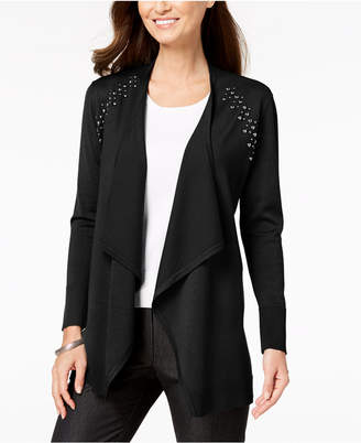 JM Collection Petite Embellished Open-Front Cardigan