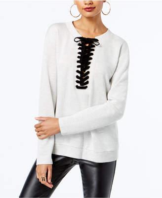 INC International Concepts I.n.c. Petite Lace-Up Sweatshirt