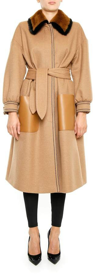 Camel Coat With Mink Fur