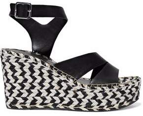 Sigerson Morrison Arien Mirrored-Leather Espadrille Wedge Sandals