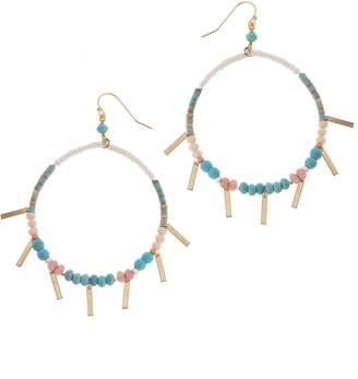 Nakamol Design Stone & Bead Hoop Earrings