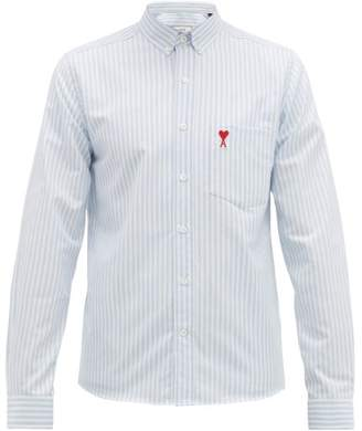 Ami Logo Embroidered Striped Cotton Oxford Shirt - Mens - Light Blue