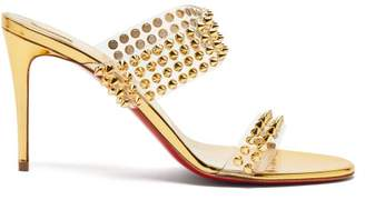 Christian Louboutin Spikes Only 85 Mirrored Leather Sandals - Womens - Gold