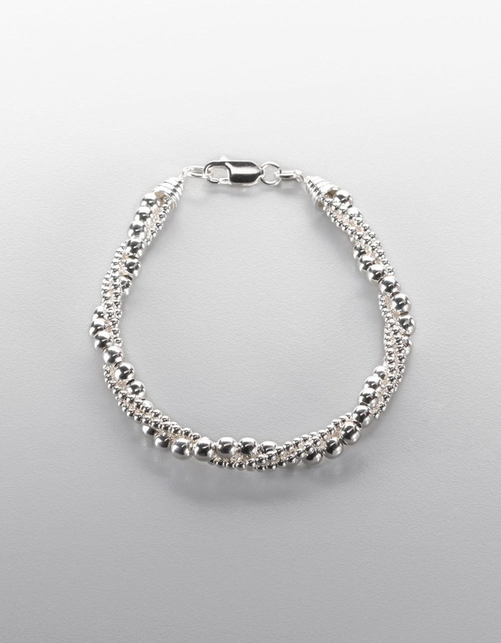 LORD & TAYLOR Sterling Silver Three Row Twisted Bead Bracelet