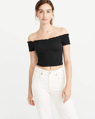 Abercrombie & Fitch Off-The-Shoulder Smocked Top