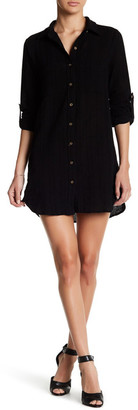 En Creme Crinkle Button Up Shirt Dress $48 thestylecure.com