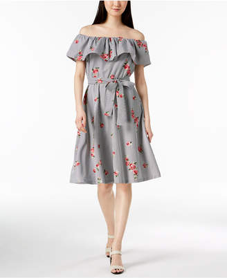 Calvin Klein Embroidered Off-The-Shoulder Dress