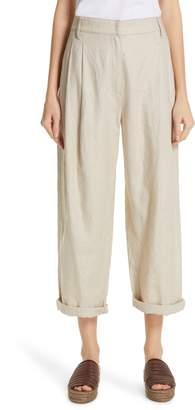 Brunello Cucinelli Pleated Linen & Cotton Crop Pants