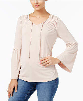 Style&Co. Style & Co Petite Ruched Bell-Sleeve Top, Created for Macy's