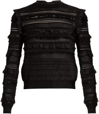 Long-sleeved ruffle-trimmed silk-blend sweater