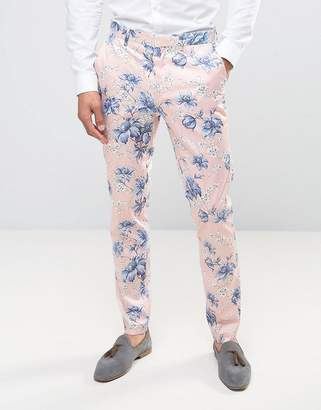 ASOS Wedding Skinny Smart Pants in Blush Floral Print $64 thestylecure.com