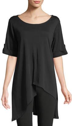 Joan Vass Petite Short-Sleeve Artistic Cotton Tunic