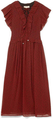 MICHAEL Michael Kors Ruffled Printed Chiffon Midi Dress - Burgundy