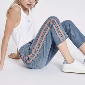 River Island Womens Petite blue Casey side stripe slim fit jeans