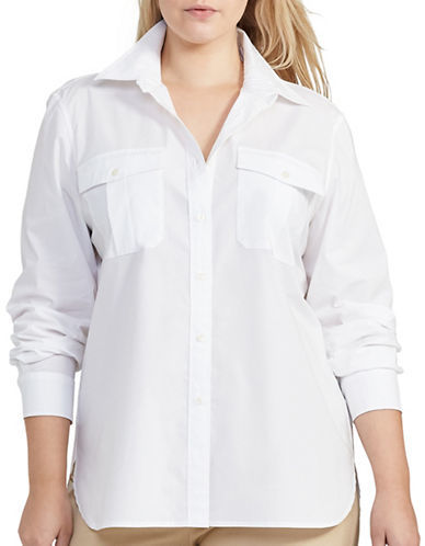 Lauren Ralph Lauren Lauren Ralph Lauren Plus Solid Long-Sleeves Shirt