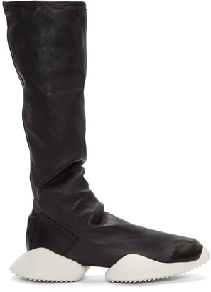 Rick Owens Black adidas Edition Runner Stretch Boot High-Top Sneakers $1,435 thestylecure.com