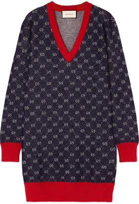 Gucci Wool And Alpaca-blend Jacquard Dress - Navy