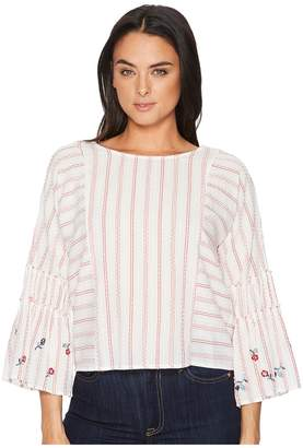 d06d01f967dd2 ... Vince Camuto Ruffle Bell Sleeve Bubble Stripe Embroidered Blouse  Women s Blouse