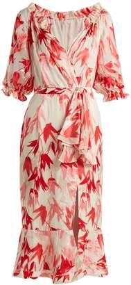 Saloni Olivia tulip-print devoré dress