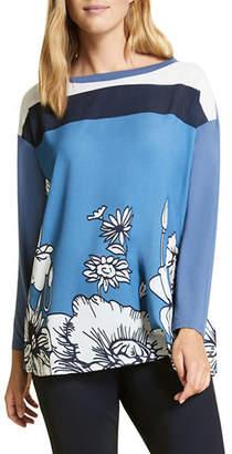 Marina Rinaldi Venere Colorblock Floral-Print Boat-Neck Long-Sleeve Top
