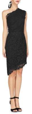 Adelyn Rae Marilyn Woven Lace One-Shoulder Sheath Dress
