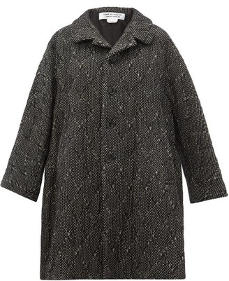 Comme des Garcons Single Breasted Wool Blend Tweed Coat - Womens - Black White
