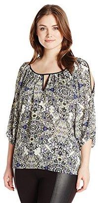Single Dress Women's Plus Size Print Cut Out Blouse $12.48 thestylecure.com