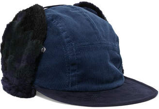 Sacai - Faux Shearling-trimmed Corduroy Hat - Navy $315 thestylecure.com