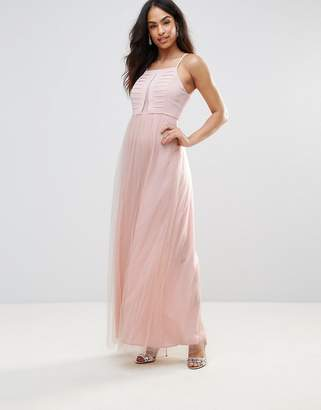 BCBGMAXAZRIA BCBC Organza Mesh Skirt Maxi Dress