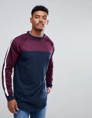 Asos DESIGN Super Longline Long Sleeve T-Shirt With Contrast Yoke And Curved Hem