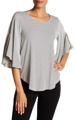 Pleione Stripe Knit Bell Sleeve Shirt $48 thestylecure.com