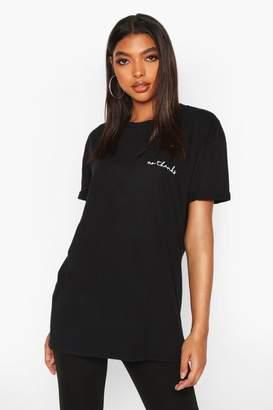 boohoo Tall 'No Thanks' Slogan Pocket Print T-Shirt