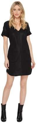 7 For All Mankind Short Sleeve Popover Dress in Coated Black Women's Dress