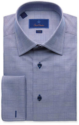 David Donahue Men's Trim-Fit Glen Plaid Dress Shirt with French Cuffs