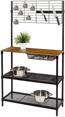 """Honey-Can-Do 65"""" Bakers Rack with Cutting Board & Hanging Storage"""