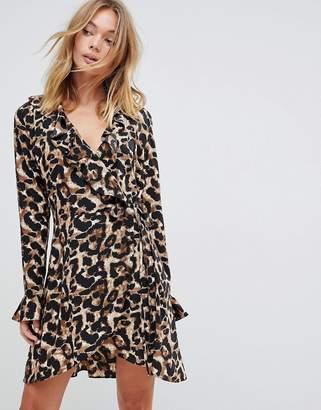 Liquorish Leopard Print Wrap Ruffle Dress