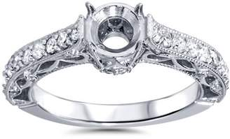 Pompeii3 1/2ct Vintage Style Engagement Ring Setting 14K White Gold Solitaire Semi Mount