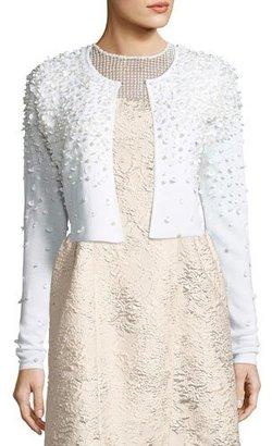 Elie Tahari Gisele Embellished Cropped Merino Sweater, Antique White $468 thestylecure.com