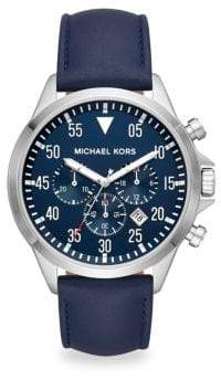 Michael Kors Gage Stainless Steel& Leather Strap Chronograph Watch