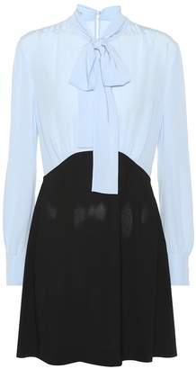 Miu Miu Color-blocked crepe minidress
