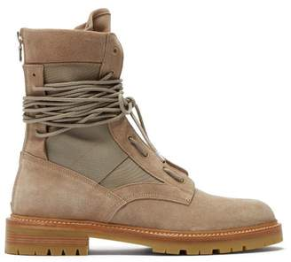 Amiri Suede And Canvas Combat Boots - Mens - Beige