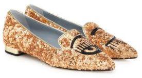 Chiara Ferragni Flirting Metallic Sequin Point-Toe Flats $465 thestylecure.com