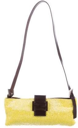 Fendi Beaded Leather-Trimmed Shoulder Bag