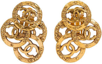 One Kings Lane Vintage Chanel Multi-Logo Clip Earrings - Vintage Lux