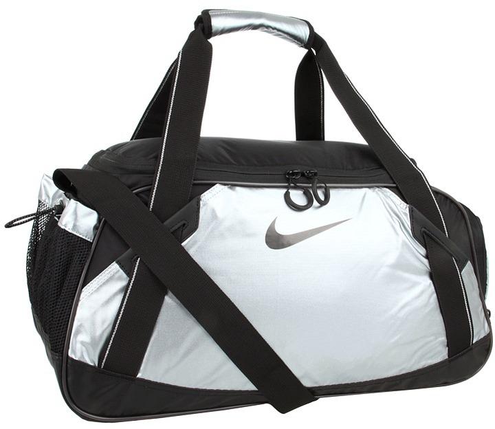 Nike Varsity Girl Metallic Medium Duffel (Metallic Cool Grey/Black/Black) - Bags and Luggage
