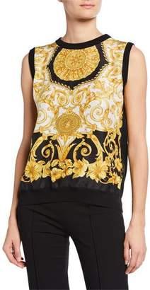Versace Sleeveless Hibiscus-Print Silk Shell Top